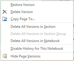 OneNote Page Version Menu of Options